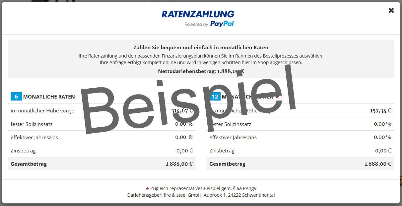 Ratenzahlung Finanzierung Beispiel mit Paypal im Grillshop Kiel